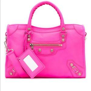 NWT BALENCIAGA Fluo Neon Pink City Moto Bag $2699
